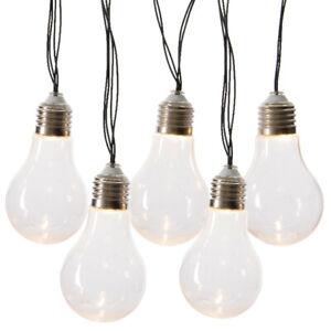 LED-Solar-Lichterkette-10-tlg-Gluehlampe-klar-Partylichterkette-Garten-Gluehbirne