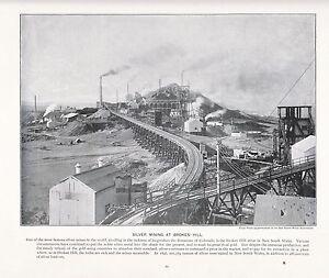 Art Radient 1897 Victorian Print Silver Mining Bonanzas Colorado Broken Hill New South Wales