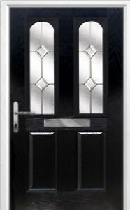 2 Panel 2 Arch Classic Composite Front Door in Black Various sizes