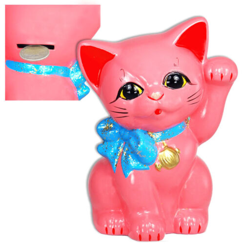 Cute Japanese Welcome Cat Maneki Neko Pink with blue Ribbon Coin Bank 6""