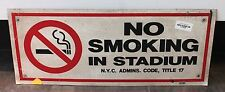 """Authentic MLB New York Yankee """"No Smoking"""" 24"""" x 10"""" Sign with Paperwork"""