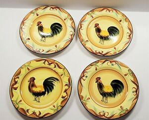 Set-of-4-Pfaltzgraff-TUSCAN-ROOSTER-8-5-034-Lunch-Salad-Dessert-Plates-Great-Cond