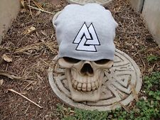 valknut 2 color gray embroiderd beanie hat thors hammer asatru norse