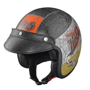 HELD-Black-Bob-Jethelm-Motorradhelm-crushed-matt-Gr-L-59-60-mit-Sonnenblende