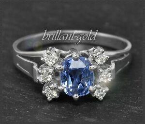 2-50ct-Diamant-Brillant-amp-Saphir-Cocktail-Damen-Ring-Antik-um-1925-585-Gold