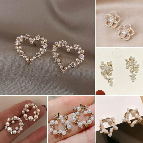 Élégante couronne de fleurs cristal perle Cercle Boucles d/'Oreilles Clous Goutte Femmes Bijoux Cadeau
