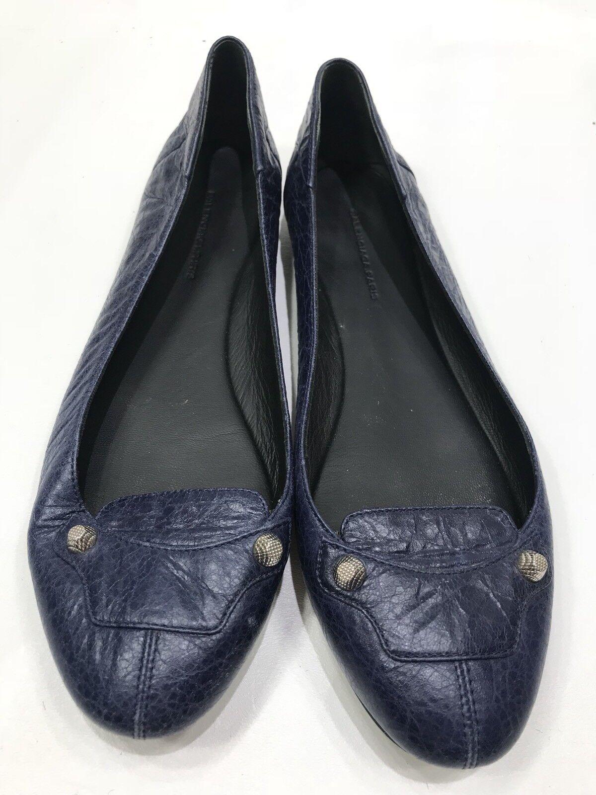 BALENCIAGA ARENA BALLET FLATS 40 Navy bluee Leather gold STUDDED STUDDED STUDDED Hardware 8.5 9 b6349f