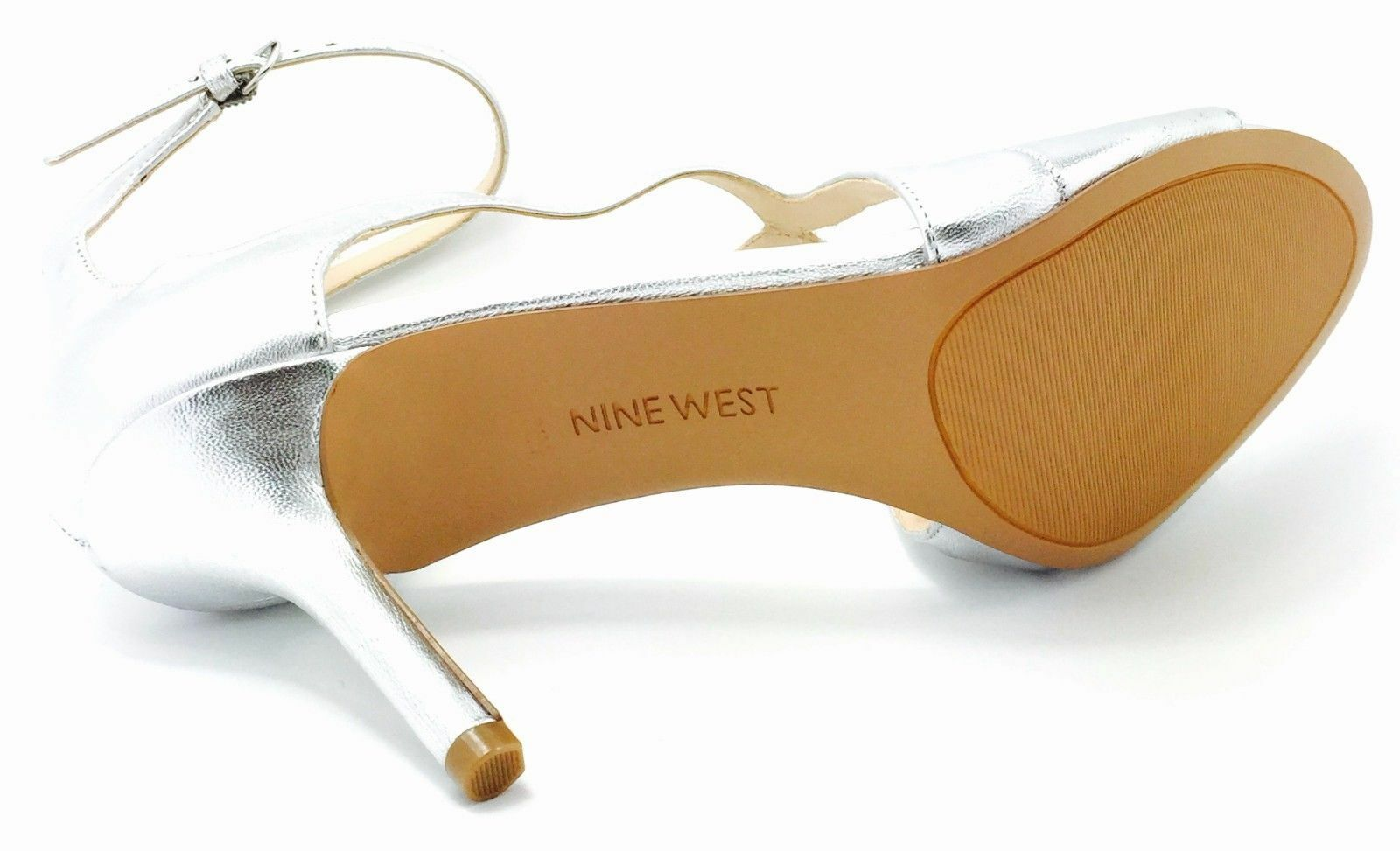 Nine West Gerbera 10 M Silver Leder Strappy Open Ankle Toes Ankle Open Strap Sandales New 941910