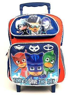 """PJ Masks 12/"""" School Backpack with Lunch Bag Time To Save The Day"""