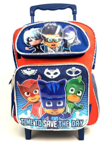"PJ Masks Time To Save The Day Backpack 12/"" Small Rolling//Roller School Backpack"