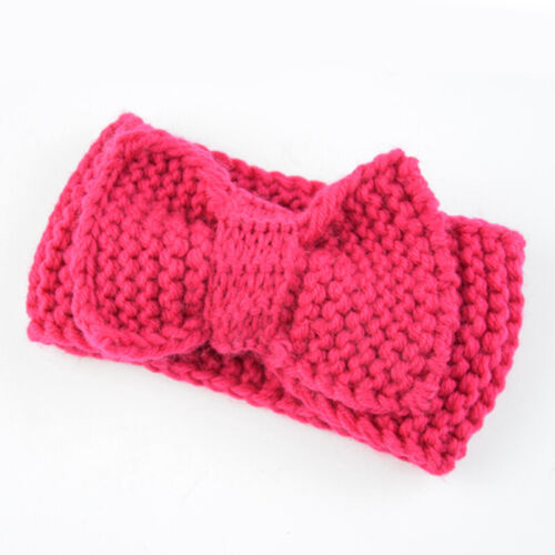 Newborn Ear Warmers Headband Crochet Knitted Big Bowknot Kids Hairbands Headwrap