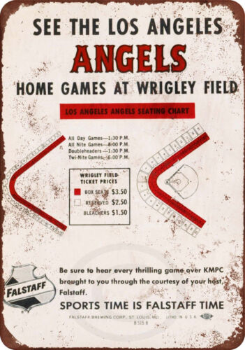 Falstaff and the Los Angeles Angels Vintage Reproduction metal sign 8 x 12