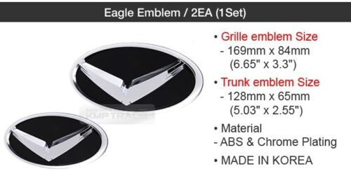 Trunk Badge 2EA B-Type for HYUNDAI 2012-2016 Azera HG Eagle Emblem Grille