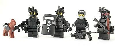 R FBI Swat Team Police Squad Minifigures made with real LEGO minifigure parts