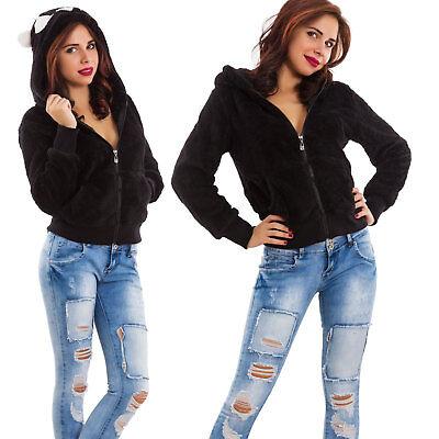 Felpa donna cappuccio orecchie eco pelliccia maglione panda kawaii nuova 561