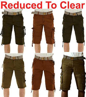 Da Uomo Crosshatch Pantaloncini Attillati Chino Slim Cotone Stretch Cargo Combat Pantaloni metà