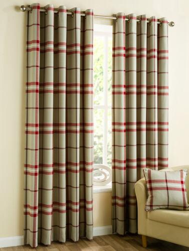 Red Duckegg Natural Lomond Tartan Check Ready Made Eyelet Curtains