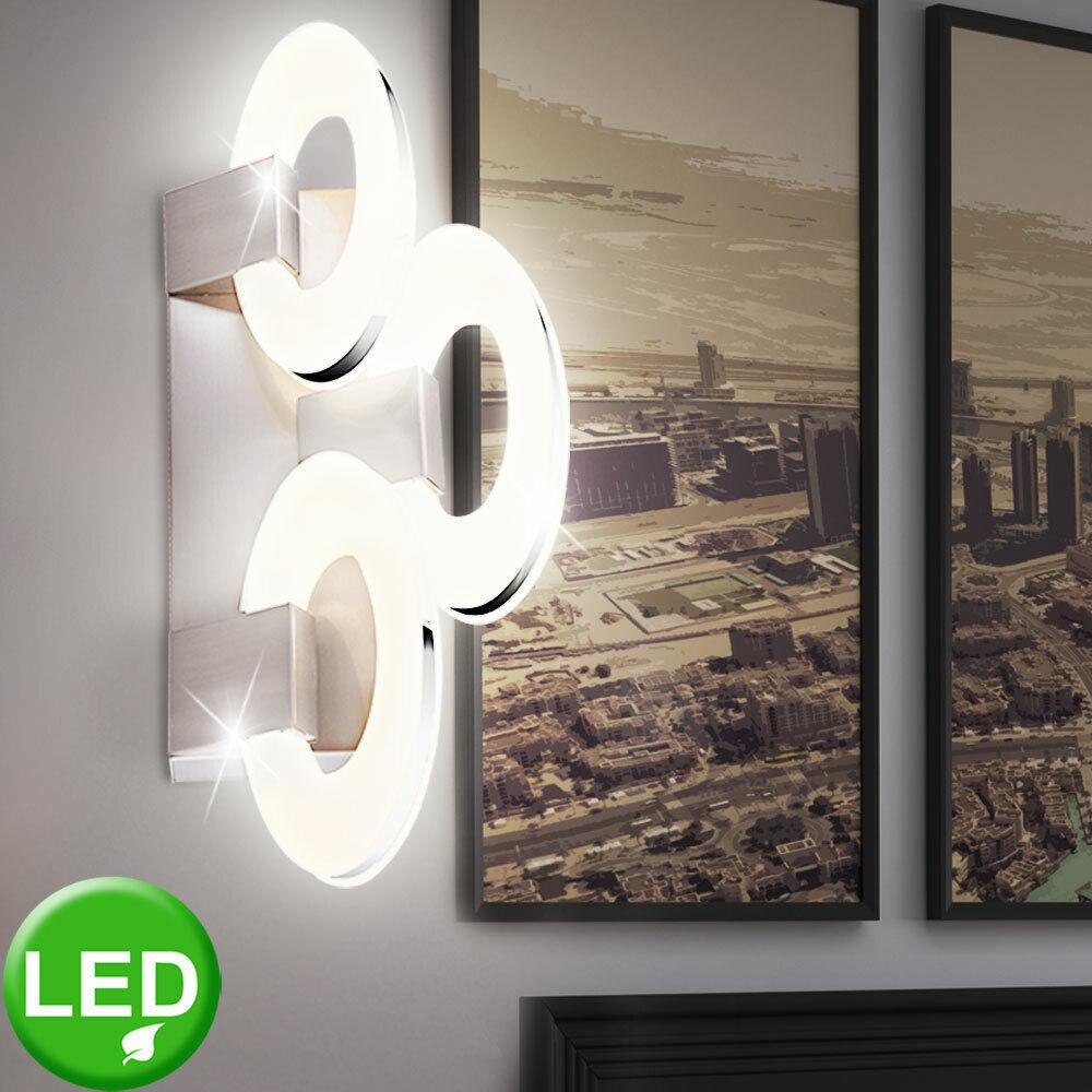 LED Wand Lampe Chrom-Ringe Ellipsen Beleuchtung Wohn Zimmer Flur Diele Leuchte