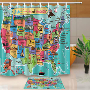 Cartoon USA Map Kids Shower Curtain Bathroom Waterproof Fabric