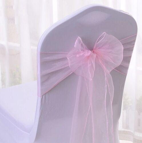 25x Pink Organza Sheer Chair Sashes Bows Ribbon Wedding Banquet Party Decoration