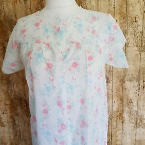Vintage-White-Pink-Floral-Cotton-Mix-Short-Sleeve-Nightdress-Lace-Trim-12-14