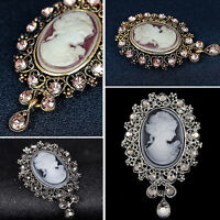Vintage Crystal Cameo VICTORIAN STYLE Wedding Party Women Pendant Brooch Pin New
