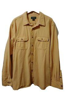 Eddie-Bauer-Mens-Long-Sleeve-Shirt-Yellow-Size-XXL-Button-Front-Pockets-Cotton