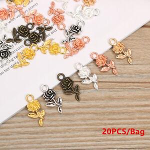 DIY-Tibet-Silver-Bracelet-Beads-Necklace-Pendant-Rose-Flower-Small-Charm