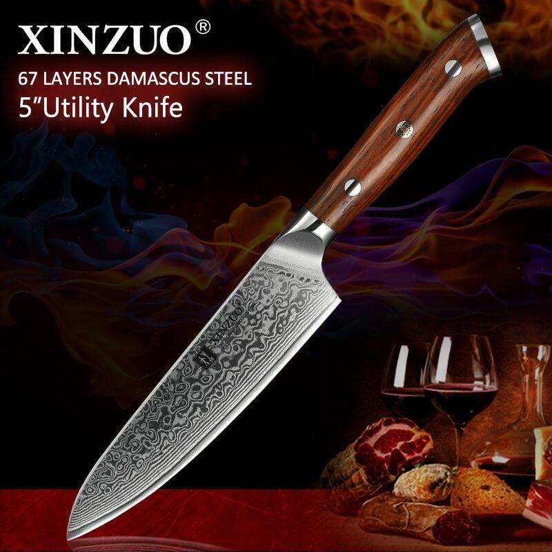 XINZUO 5'' inch Utility Knives Handmade Japan VG10 Dama