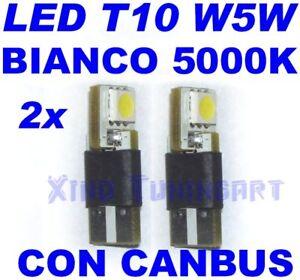 Pair LED SMD White 5000K T10 W5W Canbus Light Bulbs Lights Position Car 12V