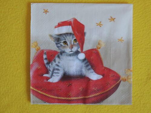 5 Servietten SANTA CAT Katzen KISSEN Weihnachten Serviettentechnik cats napkins