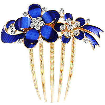 Royal Blue Butterfly and Flower Shiny Bridal Wedding Hair Accessories Comb HA321