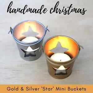x5-MINI-039-STAR-039-TIN-BUCKET-choose-gold-silver-tealight-holder-Christmas-deco