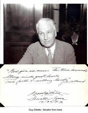 Guy Gillette Autograph Senator Iowa Surplus Property Board Senate Post Office #1