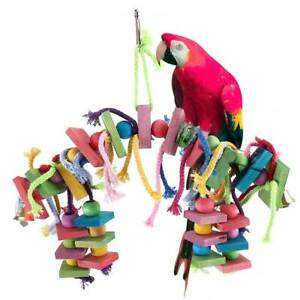 Large-Parrot-Bird-Toys-Perch-Stand-Budgie-Cockatiel-Chew-Hanging-Swing-Wooden