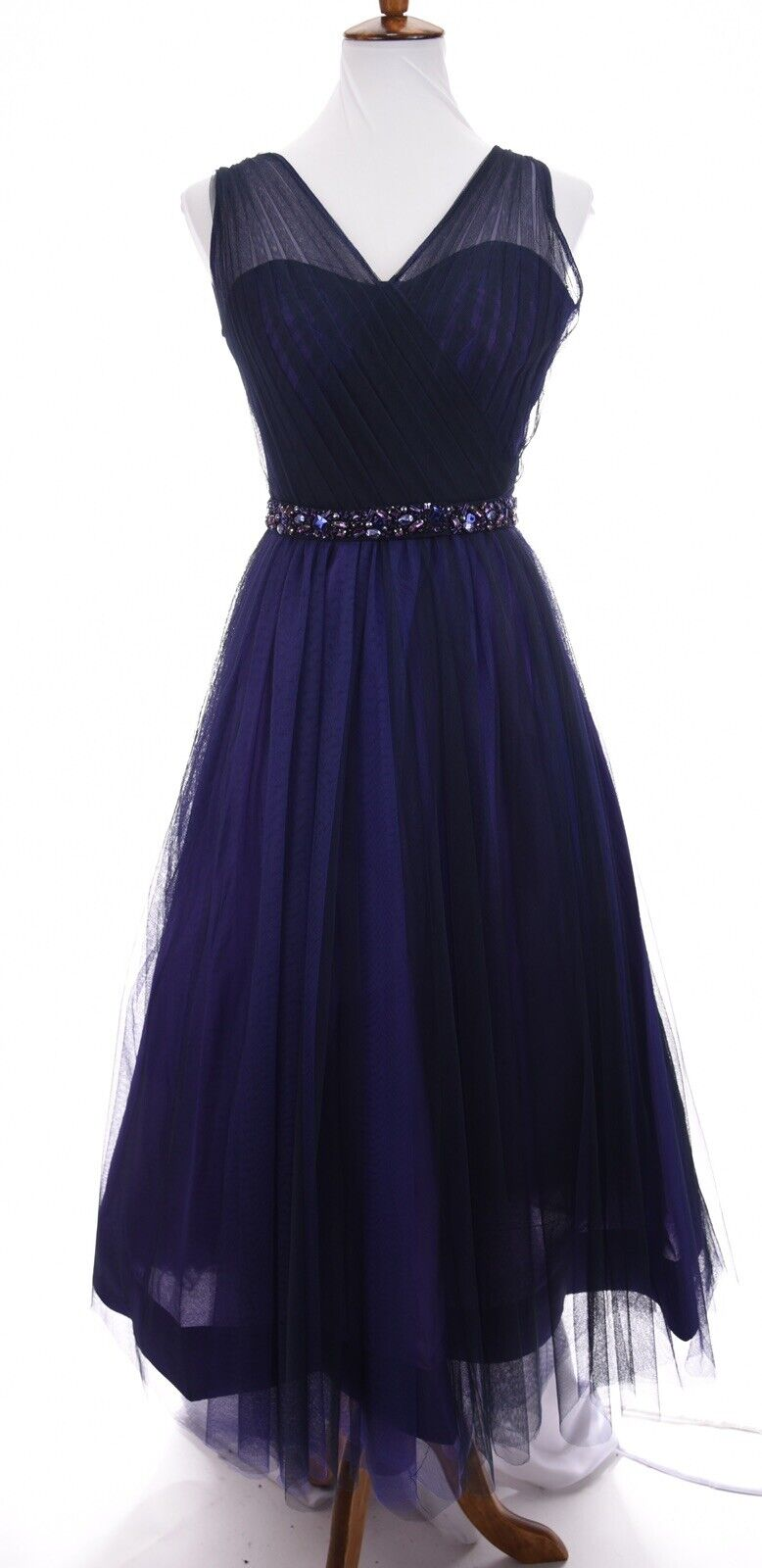 Monique Lhuillier Fit and Flare Long Tulle Ball Gown Belted Dress Purple Sz 2