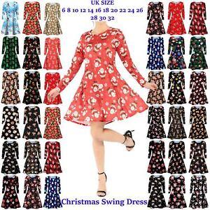 Womens-Snowman-Christmas-party-Ladies-Long-Sleeve-Elf-Santa-Tartan-Swing-Dress