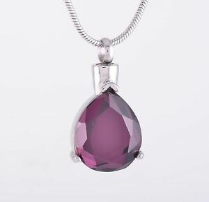 Stainless-Steel-Teardrop-Cremation-Pendant-Urn-Jewelry-Holds-Ashes-Purple