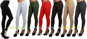 High Waist Coloured Basic Cotton Stretch Leggings Trousers Pants Size UK 6 -20