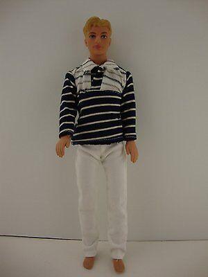 2 piece Ken Outfit White /& Black Stripes /& White Pants for Ken Doll