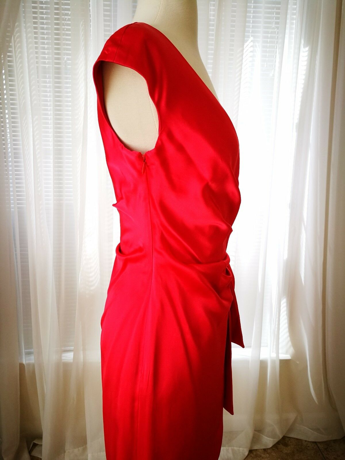 Kay Unger Draped Draped Draped Stretch Satin Side-Tie Gown Dress Formal Sheath Red Sz 2 0660c9