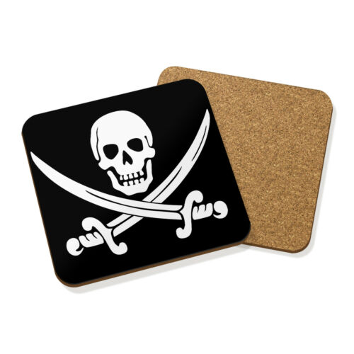 Flag Black PIRATE SKULL /& CROSSBONES DRINKS COASTER MAT CORK SQUARE SET X4