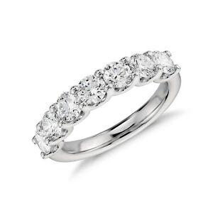 Round Moissanite 7 Stone U Prong Anniversary Ring Wedding Band In