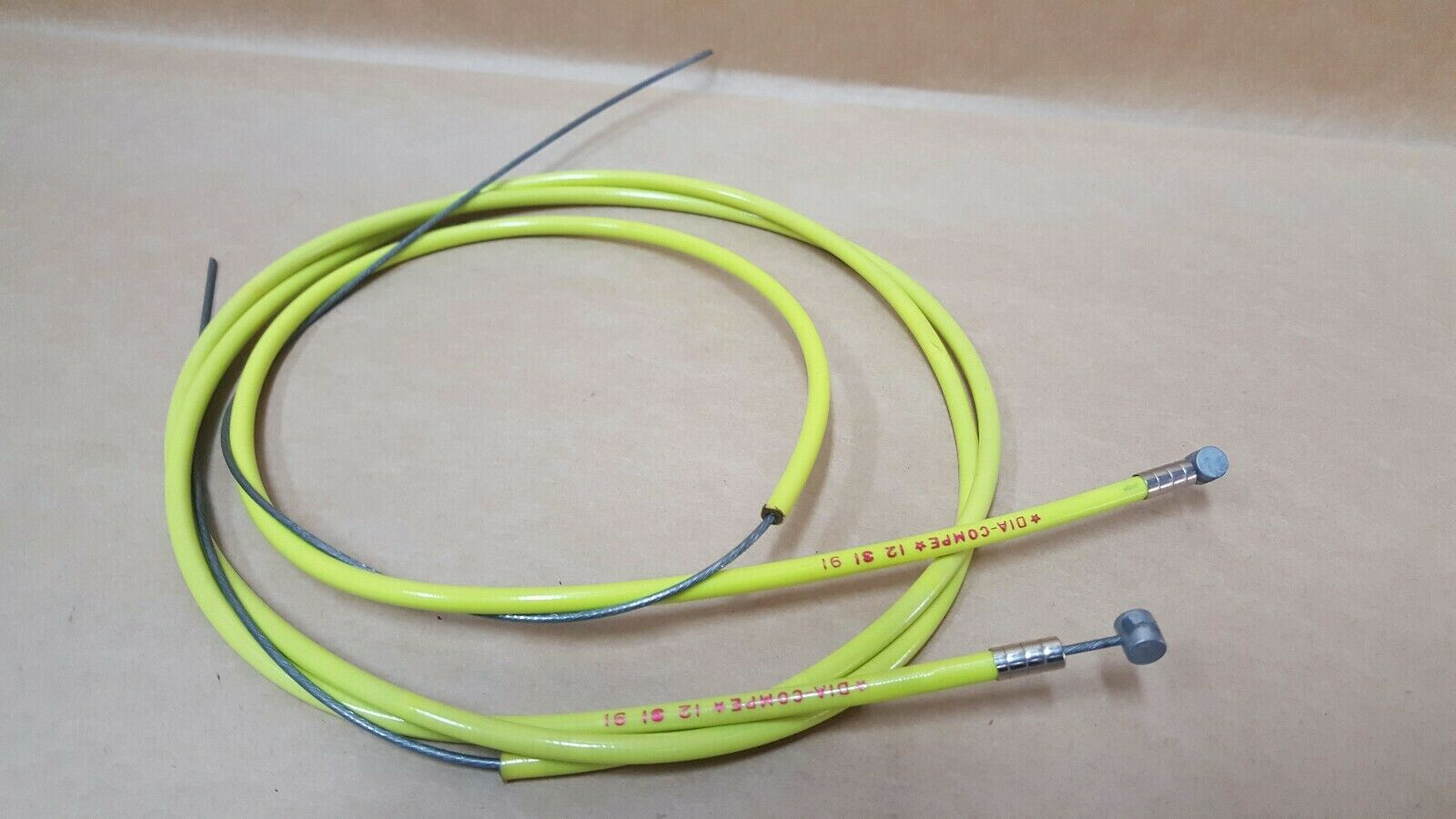 Dia Compe stamped 91 Rear Front Brake CableS Nos neon yellow Bmx
