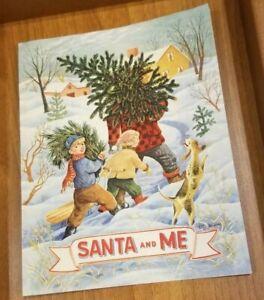 Vintage-Christmas-Card-034-Santa-and-Me-034-Department-Store-Santa-Visit-Photo-Girl