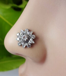 Crock Screw Nose Pin Valentine Day Gift Flower Indian Nose Ring