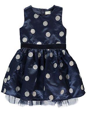 NAME IT süßes Satin Kleid Puanna dunkelblau Glitzer Punkte Größe 110 bis 152