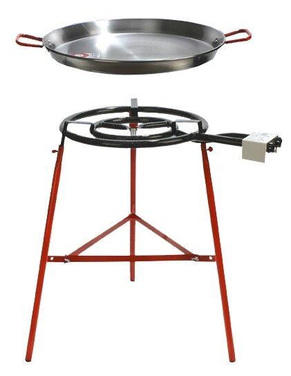 Paella pan + Paella Quemador y Soporte Set-Complate paella Kit - 19 porciones