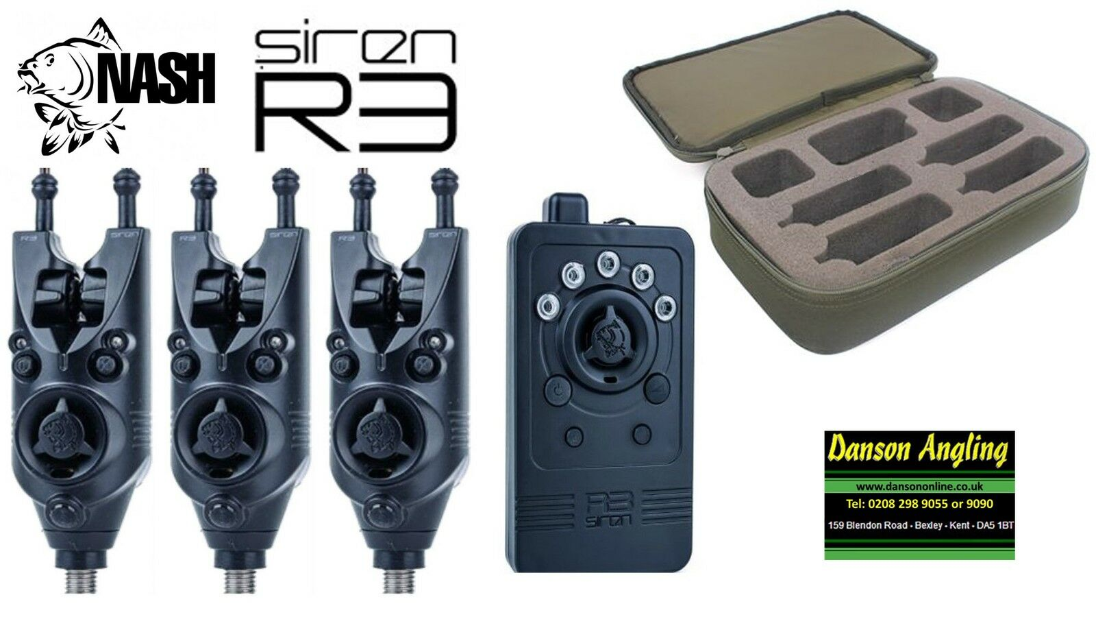 3 x Nash Siren R3 Remote Alarms & Receiver + Presentation Case All Colours