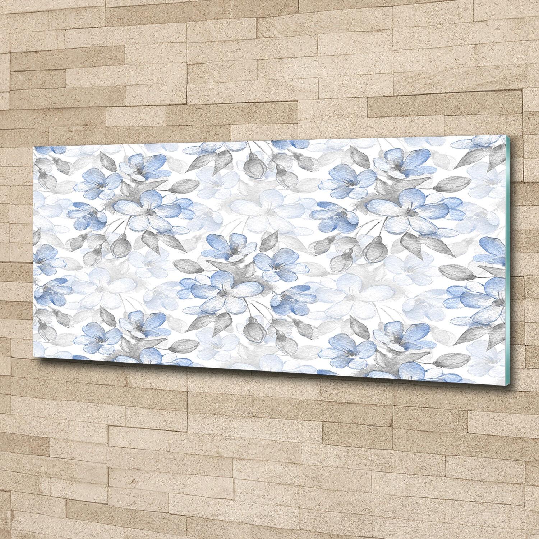 Glas-Bild Wandbilder Druck auf Glas 125x50 Deko Blaumen & Pflanzen Zarte Blaumen